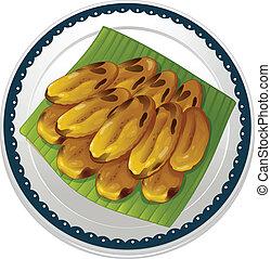 banana chips - illustration of banana chips on a white...