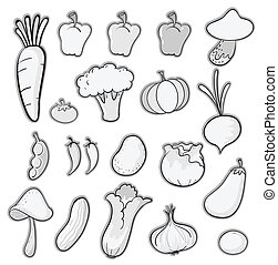various vegetables - illustration of various vegetables on a...