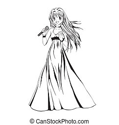 Anime girl singer. Black and white vector illustration.