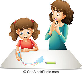 mom and kid - illustration of mom and her kid on a white...