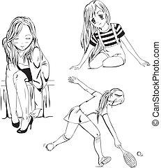 Anime girls - Set of anime girls. Black and white vector...