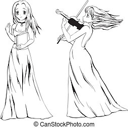 Anime girls with book and violin. Black and white vector...