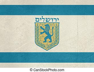 Grunge Jerusalem flag