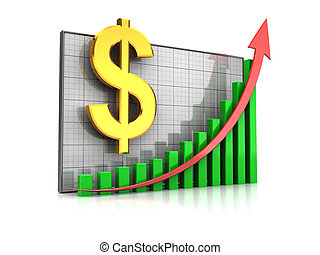 Course dollar increase - Course increase: graph with dollar...