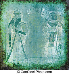 Ancient Egypt wallpaper with Queen Nefertiti and pharaoh -...