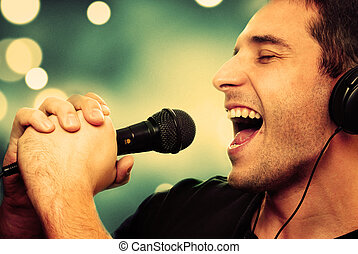 Singer - Retro image of man singing into microphone
