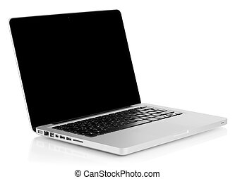 Aluminum laptop with black screen Isolated on white...