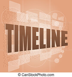 words time line on digital screen, business time concept