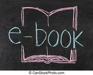 E book icon written on blackboard background