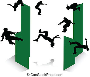 Silhouette of parkour - Silhouette of jumping young men and...