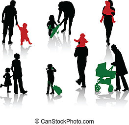The isolated silhouettes of parents with children