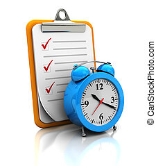 Clipboard with clock on white background, 3d image