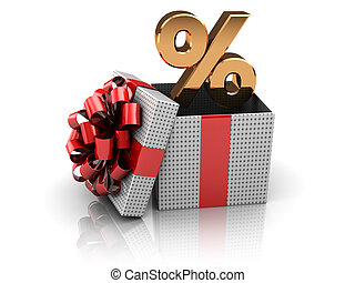 gift with percents - 3d illustration of present box with...