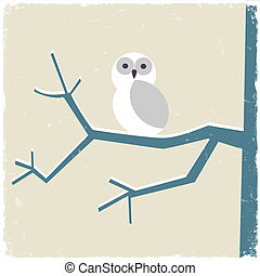Snowy white owl Vector illustration