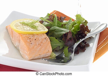 Poached Salmon 2 - Delicious poached salmon served with...