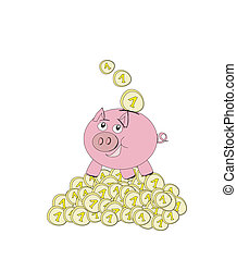 Piggy bank - doodle illustration