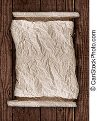 Worn Parchment Paper On a Wooden Rustic Background - Old...