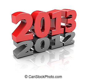 Next year - Red 2013 over grey 2012, new year concept