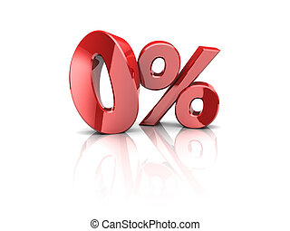 zero percent - 3d illustration of zero percent symbol, over...