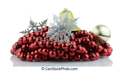 Christmas decorations rotating on white background