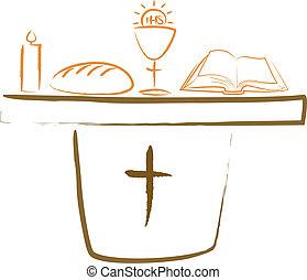 santissimo, comunhão, -, altar, religiou