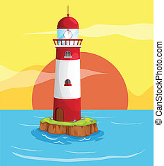 light house - illustration of an ocean and a light house in...