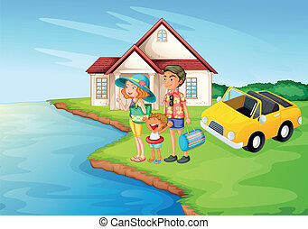 035 - illustration of a girl, a boy and a car in a beautiful...