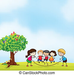 kids - illustration of kids and a tree in beautiful nature