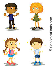 four kids - illustration of four kids on a white background
