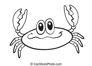 Clip Art of A black and white drawing of a king crab