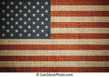USA flag on grunge canvas background