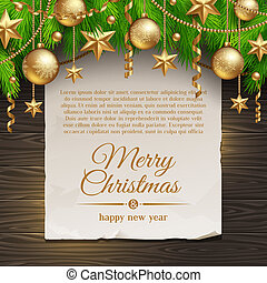 Christmas paper banner & gold decor - Christmas illustration...