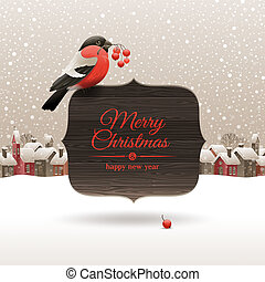Christmas vector illustration - bullfinch with ashberries...