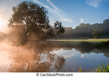 Beautiful foggy sunrise landscape over river with trees and sunb