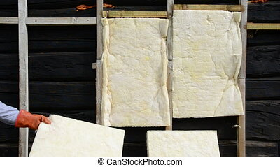 wooden wall thermal insulation - old rural house wooden wall...