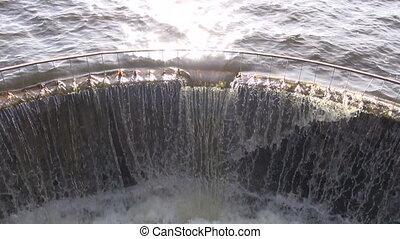 water splash in  lake dam