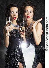 Congratulation!, mode, gens, vin, lunettes, champagne, -,...
