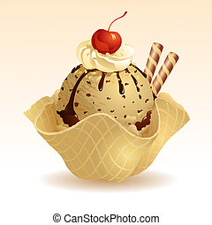 Coffee Ice cream with waffle basket