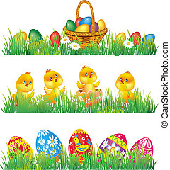 Easter eggs and chicken in grass