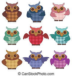 nice owls on white background