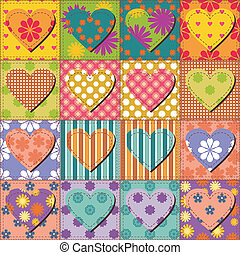 patchwork background with different patterns illustration