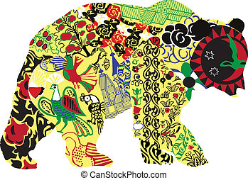 Bear in Russian ornament - silhouette bear ornament in...