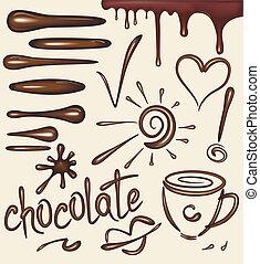 Set of chocolate drips brushs