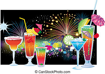 Cocktails on background of vector fireworks in the night sky