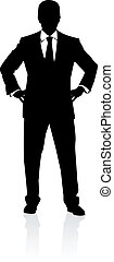 Business man in suit and tie silhouette Illustration on...
