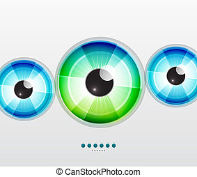Abstract techno eye Vector illustration - Vector color eye...