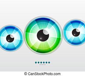Abstract techno eye. Vector illustration - Vector color eye...