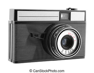 Old photo camera with clipping path