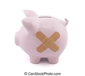 Piggy bank with plaster Clipping path included