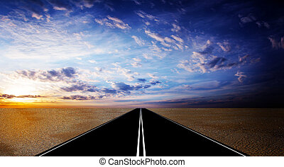 on the road - route on background celestial landscape